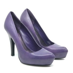 BCBGENERATION PURPLE LEATHER HIGH HEEL PUMPS